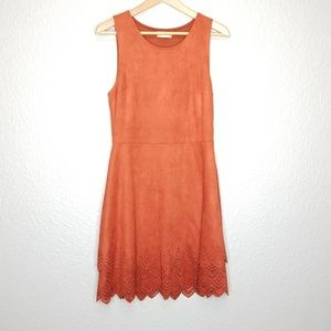 Altar'd State Shake It Out Suede Orange Dress